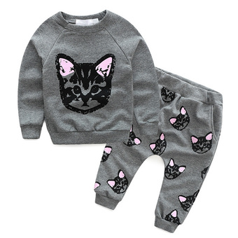 Kids Baby Girls Autumn Clothes Cat T-shirt + Pants