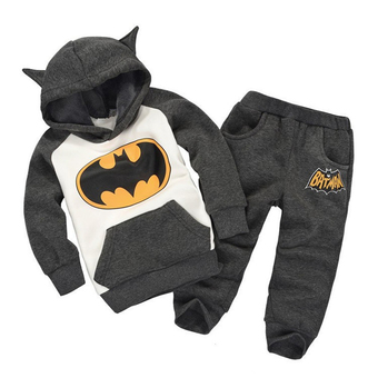 Kids Fleece Hoodie with Pants Clothing Set (Grey) - INTL