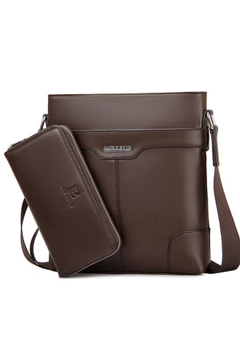 Fashion Shoulder Bag Messenger Men's Business Casual Fashion Vertical Crossbody Bag Tote Bag (Brown Big Size) - Intl
