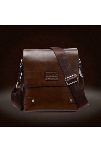 Leather Briefcase Casual Business Messenger Crossbody Handbag Deep brown