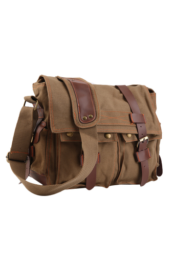 OH Men's Vintage Canvas Leather School Military Shoulder Messenger Bag NEW Coffee