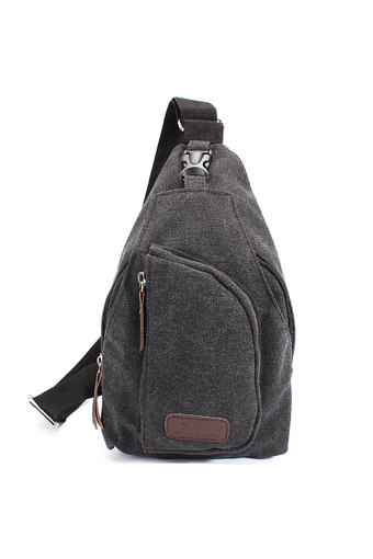 ELEGIANT Men Canvas Backpack Shoulder Chest Hiking Bag Black