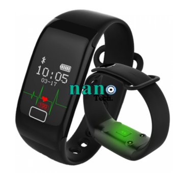 Nanotech 2016 Smart Band Bracelet Activity Fitness Heart Rate Monitor Tracker Wristband for IOS Android (สีดำ)