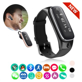 Nanotech Smart watch All in One 2016 Hot Sale New Quality Wristband Bluetooth Headset Earphone For Android IOS Phone - สีดำ