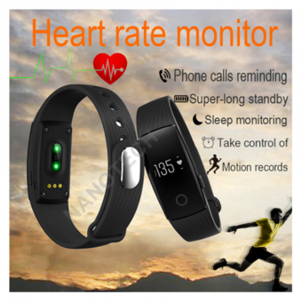 Nanotech 2016 ID107 Bluetooth 4.0 Smart Bracelet smartband Heart Rate Monitor Wristband Fitness Tracker for Android iOS Smartphone-BLACK
