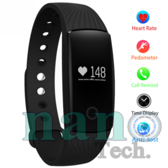 Nanotech Hot Sell 2016 สายรัดข้อมือ สำหรับ Android iOS Bluetooth Smart Wristband Heart Rate Monitor Fitness - BLACK