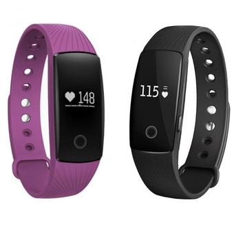 Nanotech Smart Bracelet band Heart Rate Monitor 107 Wristband Activity Fitness Tracker for IOS&Android 2 ชิ้น (ดำ/ม่วง)