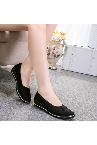Female with slope Comfortable Soft Work shoes Beauty Dance Canvas shoes Black - Intl