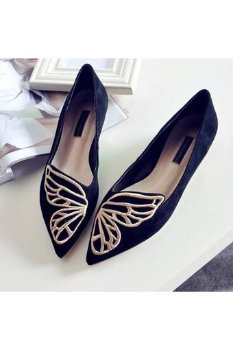 Butterflies embroidered pointed flat shoes (Intl)