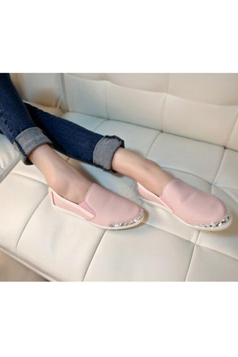 Women Shoes Trendy Rhinestone Slip-On Footwears Solid Pointed Toe PU Loafers Breathable Shoes