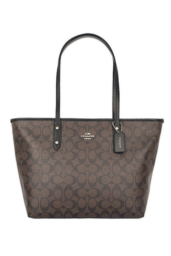 COACH SIGNATURE CITY ZIP TOTE BAG F36876 IMAA8 Brown/Black