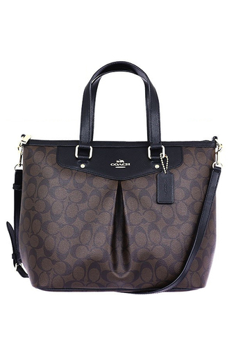 COACH SIGNATURE PLEAT TOTE F34614 IMAA8 (IM/Brown/Black)