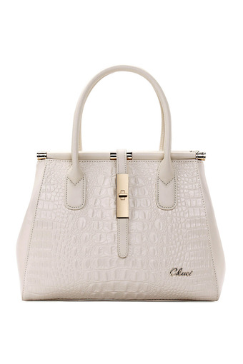 CLUCI Crocodile Grain Leather Bag Ladies Handbags Shoulder Bag White (intl)