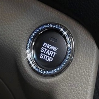 Auto Car Engine Start Stop Ignition Button Diamante Ring Sticker Decoration Whit