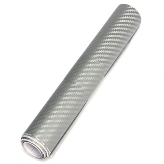 20CMx2M 3D DIY Carbon Fiber Vinyl Wrap Roll Film Sticker Decal Car Home (Silver)