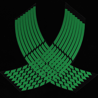 16 Strips Wheel Sticker Reflective Rim Stripe Tape Bike Motorcycle Car 16 17 18inch (Green)
