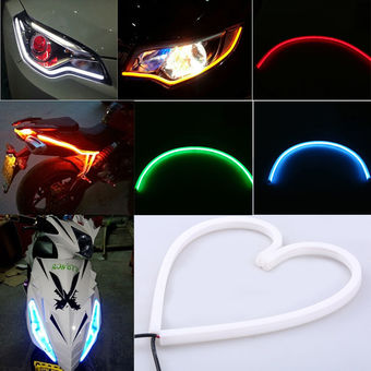 2pcs 30cm 39smd Soft Car Motorcycle LED Strip Light DRL Running Driving LED Strip Lamp White to Yellow - Intl