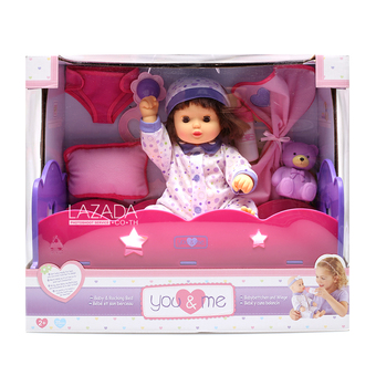 """YOU & ME 14"""" BABY IN BED DELUXE SET"""""""