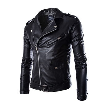 Men's Outdoor Motorcycle Racing PU Leather Jacket Armor Riding Clothing (Black)
