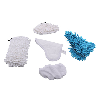 fehiba Washable Replacement Steam Mop Pads for Chenille X5 H20 (White Blue)