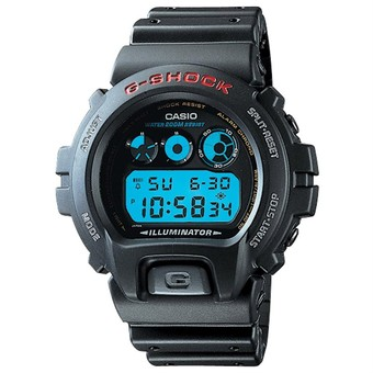 Casio G-shock DW-6900-1 auto-calendar with Black Resin Band and Neutral Face Color.
