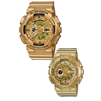 CasioG-Shock and Baby-G Couple Gold Resin Strap Watches GA-110GD-9A & BA-111-9A