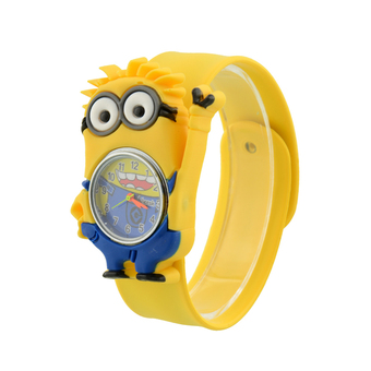 Aukey Kids Minion Cartoon Gel Quartz Clap WristWatch