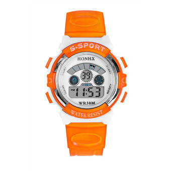 Boys LED Digital Quartz Alarm Date Sports Wrist Watch Orange