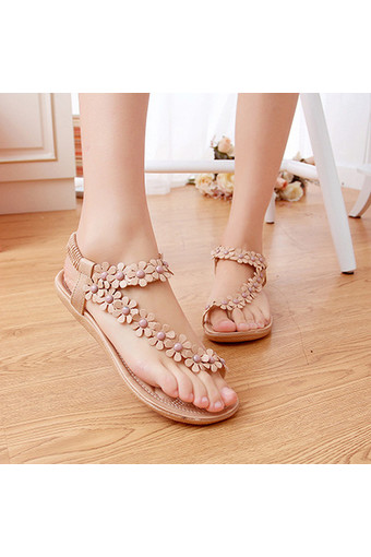 LALANG Hot Sales Summer Women Sandals Bohemia Flower Casual Toepost Flats Shoes Apricot