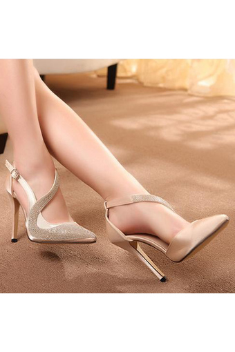 Womens Pointed Stiletto Suede Korean Pumps with Rhinestone Apricot