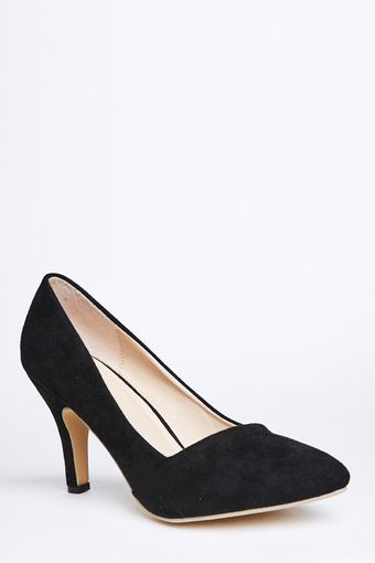 Stitch Classic Pointed Toe Stiletto Heels, Suede finish (Black)(Export)