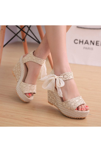 Sexy Lace Shoes Peep Toe Wedge Womens Platform High Heel Pump Sandals Bowknot