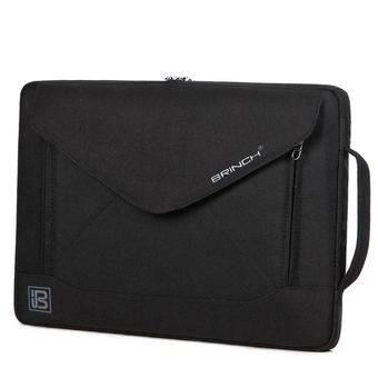 BRINCH Fashion Durable Envelope Nylon Fabric 14 Inch Laptop / Notebook / Macbook / Ultrabook / Tablet Computer Bag Shoulder Carrying Envelope Case Pouch Sleeve With Shoulder Strap Pockets and Card Slots (Black) (Intl)