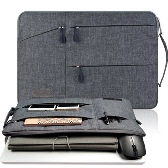 Gearmax(TM) Travellers Multi-functional Nylon Water Resistant with Side Pockets Laptop Handbag for 15.4 Inch Macbook Air Pro / Notebook / Surface / Dell Sleeve Case Cover Bag (15.4 Inch,Gray) - Intl
