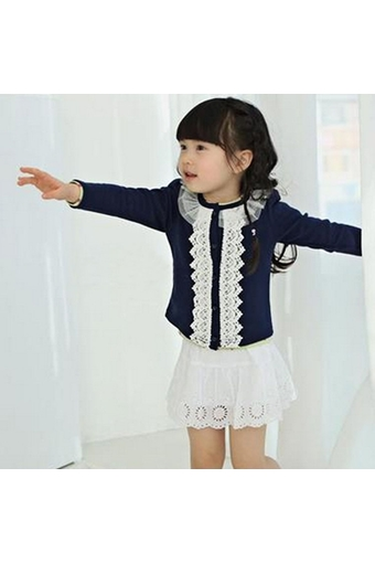 Fashion Children Kids Girl's Wear Long Sleeve Round Lace Collar Casual Coat