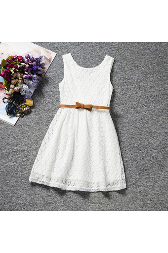 Summer Girls Kids Sleeveless Lace Vest Dress with Belts (White) - Intl