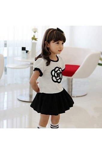 New Fashion Kids Girl's O-neck Short Sleeve Embroidery Layered Patchwork Dress