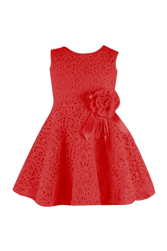 Girls Sleeveless Lace Dress (Red)
