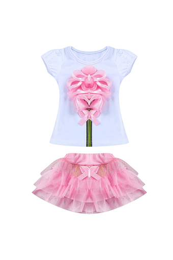 Girls Princess Party Dress Set Flower T-Shirt + Tutu Skirt (Pink)