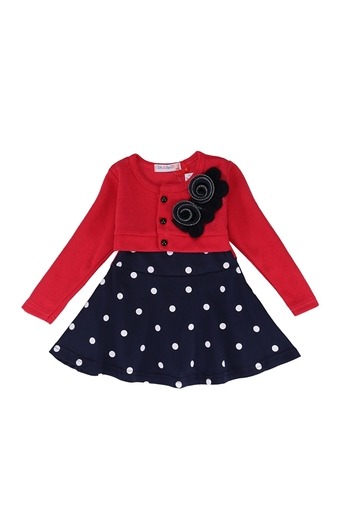 Spring-autumn New Arrive Flower Dot Full Sleeve Baby Girls Dress