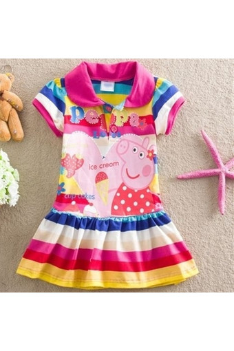 Kids Girls Peppa Pig Striped Rainbow T-Shirt Skirt Child Short Sleeve Dress