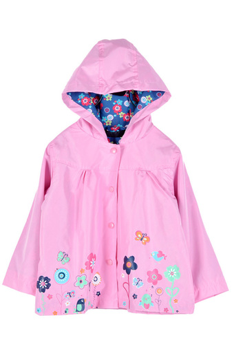 Cyber Girls Kids Cute Print Hooded Long Sleeve Waterproof Jacket (Pink)