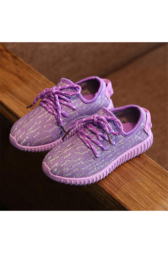 Boy's Student's Canvas Casual Girl's Sneakers Sports Athletic Knit Shoes I105 Purple