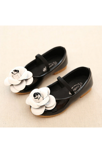 Daily Fashion Girl's Kid's Flowers Casual Cute Rubber Sole PU Leather Shoes I95 Black