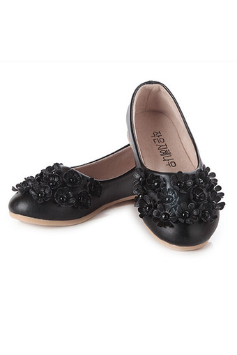 I01 Black New Fashion Princess Flowers Girls Shoes Children Cute Leather Shoes Rubber Sole Size:26-36