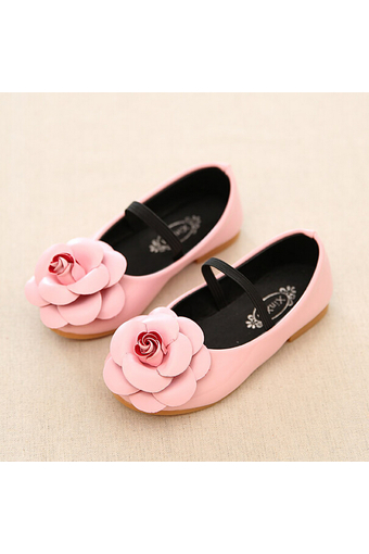 Daily Fashion Girl's Kid's Flowers Casual Cute Rubber Sole PU Leather Shoes I95 Pink