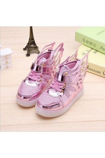 I99 Kids Girls Boy Childs Light Wing Leather Casual Buckle Strap Shoes Pink