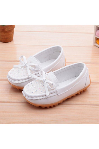 I104 Fashion Cute Slip-On Solid Girls Boys Rubber Children PU Leather Kids Shoes White