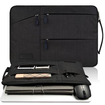 Gearmax(TM) Travellers Multi-functional Nylon Water Resistant with 2 Side Pockets Laptop Handbag for 11.6 Inch Macbook Air Pro / Surface / iPad Sleeve Case Cover Bag (11.6 Inch,Black) - Intl