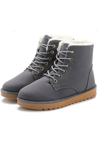 JustCreat Snow boots Lace-up Cotton-padded Shoes Round Toe Flat Boots for Students (Dark Grey)